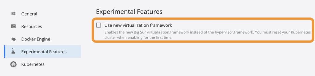 Docker設定画面(Experimental Futures)